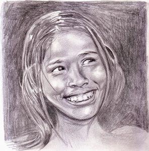 Historias milenarias de la India-ilustraciones de santiago Giron-niña de la india
